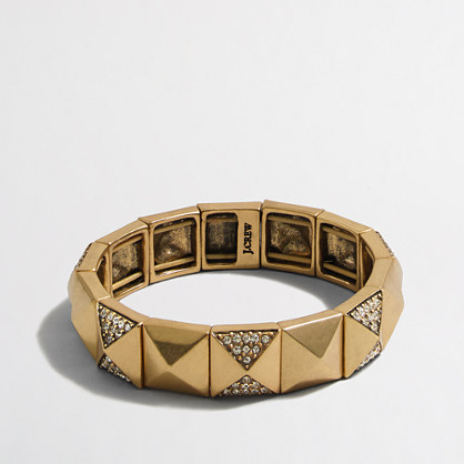 Golden crystal pyramid bracelet