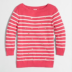 Factory embellished Breton-striped sweater