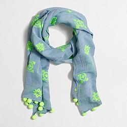 Factory embroidered pom-pom scarf