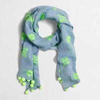 Embroidered pom-pom scarf