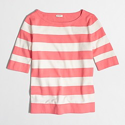 Factory striped elbow-sleeve boatneck sweater