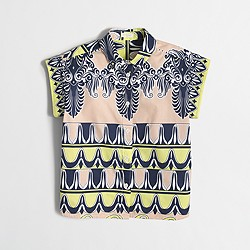 Factory girls' short-sleeve printed button-down shirt