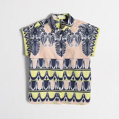 Girls' short-sleeve printed button-down shirt