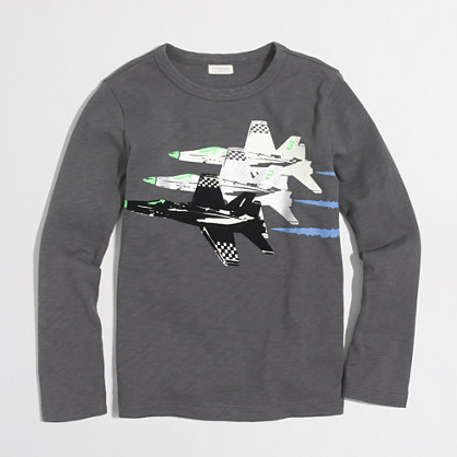 Boys' long-sleeve glow-in-the-dark jets storybook T-shirt