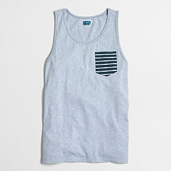 Factory contrast striped pocket tank top