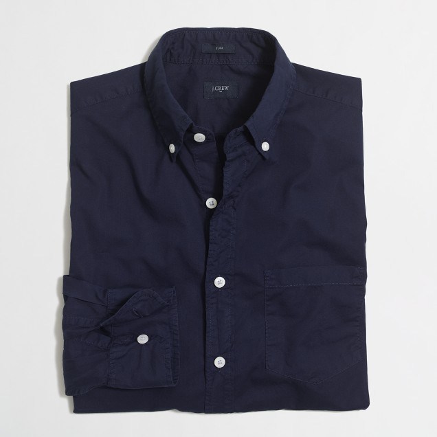 Slim lightweight sunwashed garment-dyed shirt