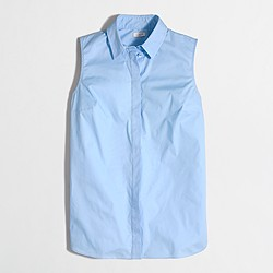 Factory sleeveless stretch classic button-down shirt