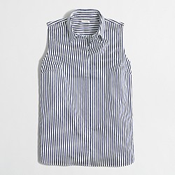 Factory sleeveless stretch classic button-down shirt in stripe