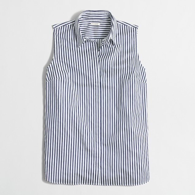 Sleeveless stretch classic button-down shirt in stripe