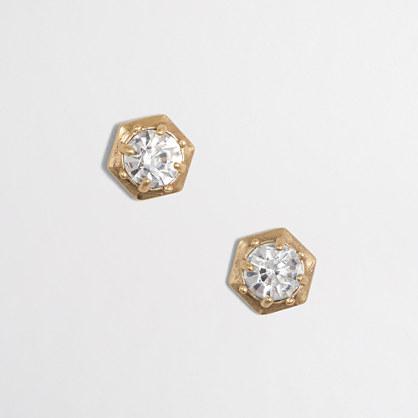 Crystal golden hexagon stud earrings