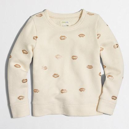Girls' glitter kisses sweatshirt