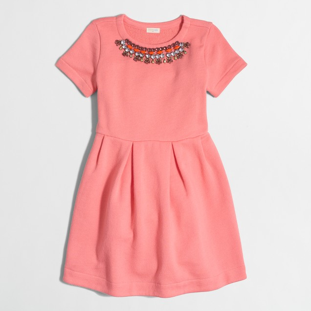 Girls' short-sleeve necklace sweatshirt dress
