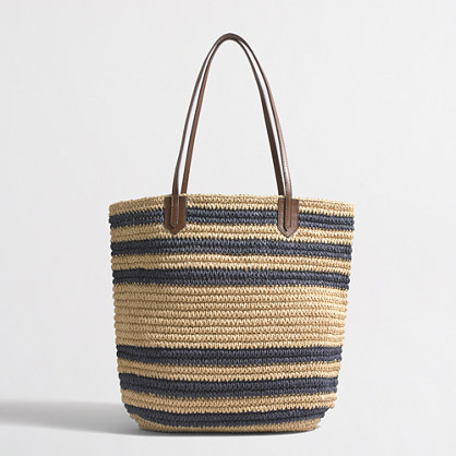 Striped raffia tote bag