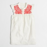 Embroidered swiss-dot tank top