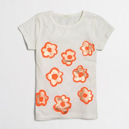 Girls' foil flowers keepsake T-shirt