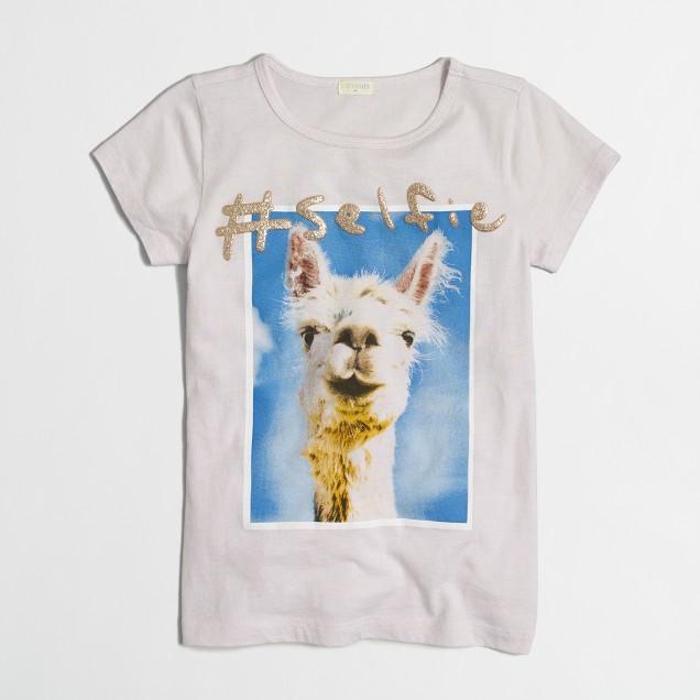 Girls' llama selfie keepsake T-shirt