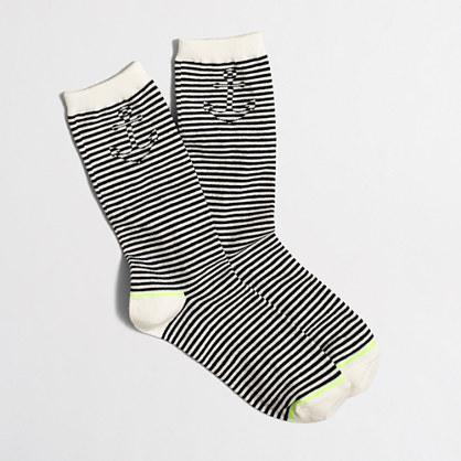 Hidden anchor striped trouser socks