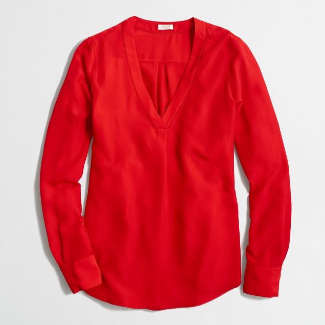 Petite drapey V-neck blouse