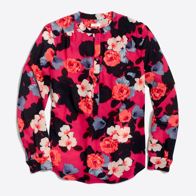 Petite printed henley blouse