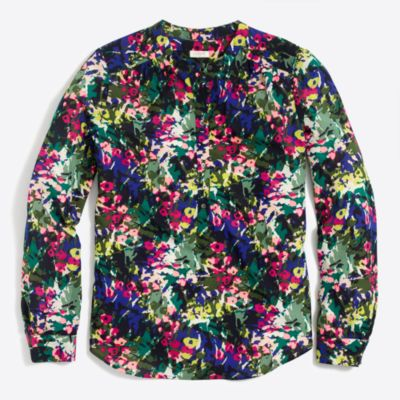 Printed henley blouse