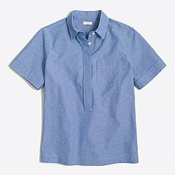 Factory short-sleeve chambray popover shirt in boy fit