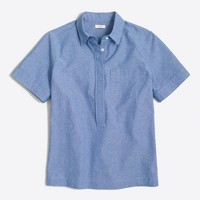 Short-sleeve chambray popover shirt in boy fit