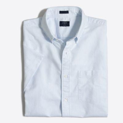Slim short-sleeve striped oxford shirt
