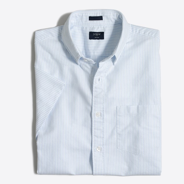 Slim short-sleeve striped oxford shirt