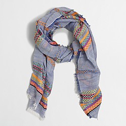 Factory embroidered cotton-linen scarf