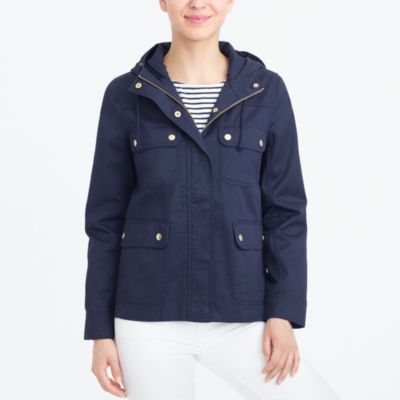 Resin-coated twill jacket with hood factorywomen jackets and blazers c