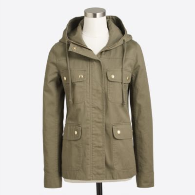Resin-coated twill jacket with hood   search