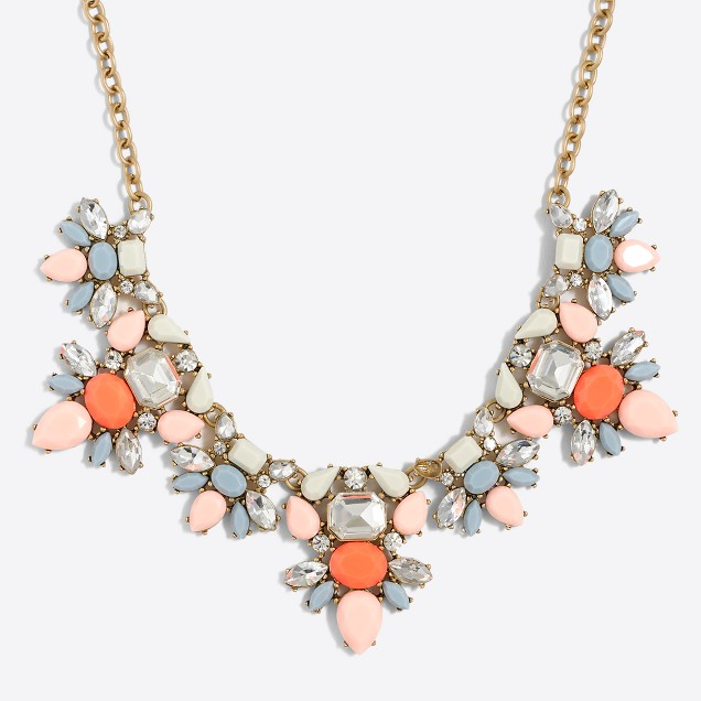 Double gemstone clusters necklace