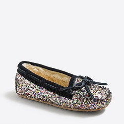 Girls' glitter shearling slippers