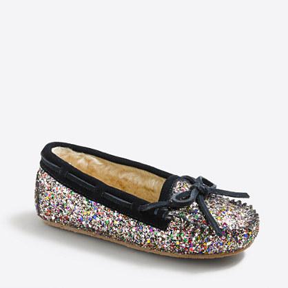 Girls' glitter shearling slippers