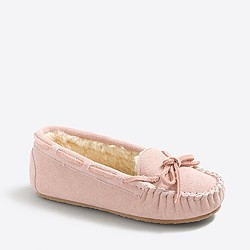 Girls' suede shearling slippers
