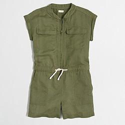 Factory girls' short-sleeve utility romper