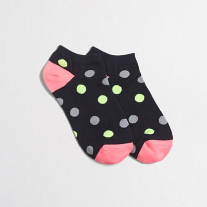 Two-tone dot tennie socks