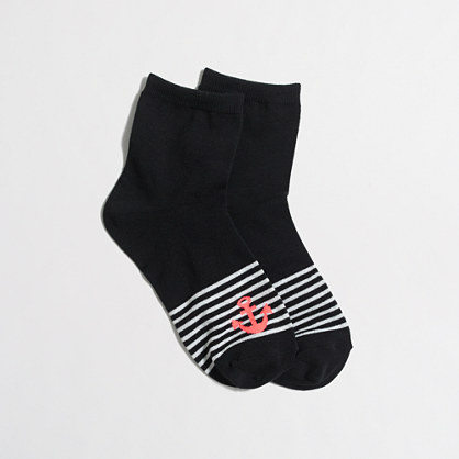 Striped ankle socks with anchor