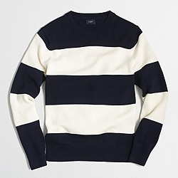 Factory wide-striped cotton crewneck sweater