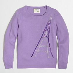 Factory girls' sequin Eiffel Tower intarsia popover sweater