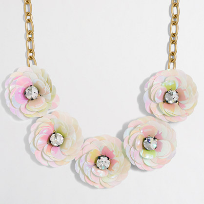 Sequin flower burst necklace
