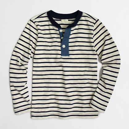 Boys' long-sleeve striped henley with contrast placket
