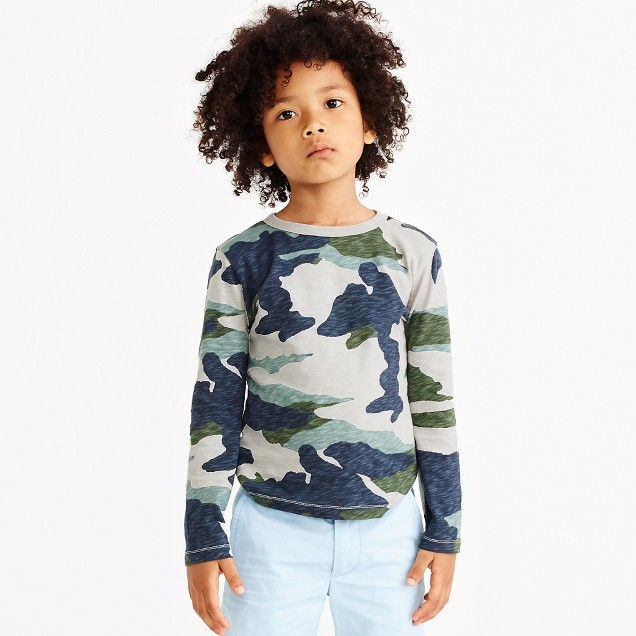 Boys' long-sleeve camo printed t-shirt