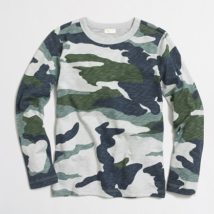 Boys' long-sleeve camo T-shirt