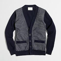 Boys' striped cotton cardigan sweater