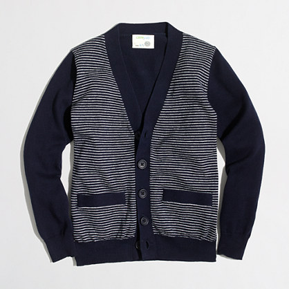 Boys' striped cotton cardigan sweater