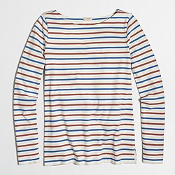Factory colorful striped long-sleeve boatneck T-shirt