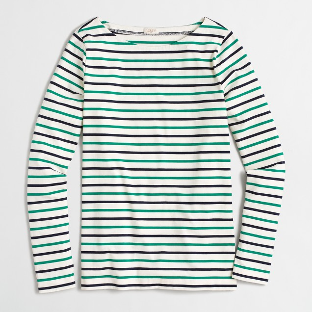 Colorful striped long-sleeve boatneck T-shirt