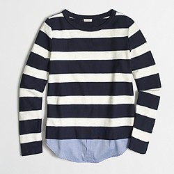 Factory striped shirttail sweatshirt