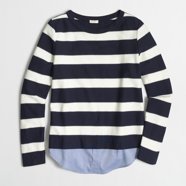 Striped shirttail sweatshirt